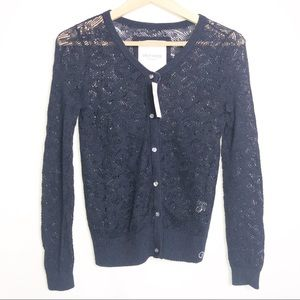 NWT Gilly Hicks Lace Blue Cardigan M